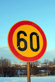 Road sign speed limit 60 Stock Photography