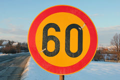 Road sign speed limit 60 Royalty Free Stock Images