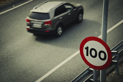 Road sign for speed limit Stock Photos