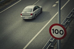 Road sign for speed limit Royalty Free Stock Photos