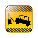 Road sign square with tow truck Royalty Free Stock Images
