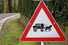 Road sign stagecoach crossing Stock Image