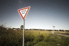 Road sign with stars Stock Photos