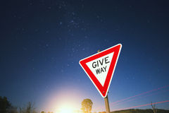 Road sign with stars Royalty Free Stock Photos