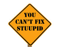 Road sign stating you can't fix stupid Royalty Free Stock Photography