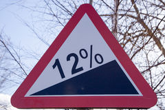 Road sign steep climb Stock Photo