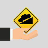 Road sign steep decline icon Royalty Free Stock Image