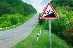 Road sign steep slope Stock Photography
