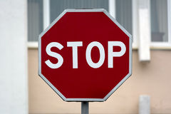 Road sign stop. A stop sign with a blurred background stock images