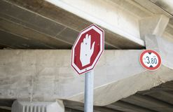 Road sign stop, Israel. stock photos