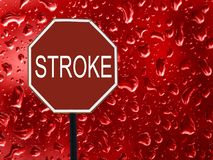 Road sign stop stroke and red blood drop on the glass. stock illustration