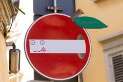 Road sign, street art Royalty Free Stock Image
