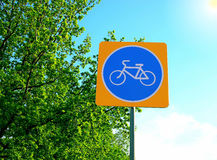 Road sign, street, attention bicycle road. Against the sky royalty free stock photography