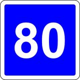 80 suggested speed road sign. Road sign with suggested speed of 80 km/h vector illustration