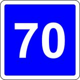 70 suggested speed road sign. Road sign with suggested speed of 70 km/h Royalty Free Stock Photography