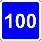 100 suggested speed road sign Stock Photography