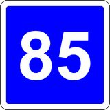 85 suggested speed road sign. Road sign with suggested speed of 85 km/h Royalty Free Stock Image