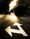 Road Sign at Sunset. Silhouette of a road sign at sunset in the center of Saigon, Ho Chi Mihn City Stock Photography