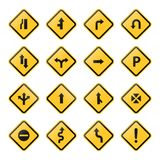 Road sign and symbols stock vector set yellow on white background. Road sign and symbols 16 icons stock vector set yellow on white background vector illustration