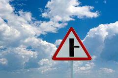Road sign t-intersection Royalty Free Stock Image
