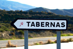 Road sign of Tabernas Royalty Free Stock Photo
