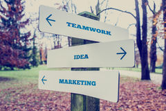 Road Sign with Teamwork, Idea and Marketing Label Royalty Free Stock Photos
