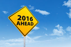 Road sign with text of 2016 ahead Royalty Free Stock Image