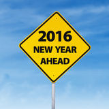 Road sign with a text of 2016 new year ahead Stock Photography