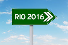 Road sign with text of Rio 2016 Royalty Free Stock Images