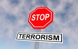The road sign with text stop terrorism. Stock Photos