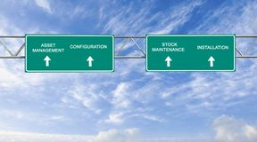 Asset management. Road sign to asset management Royalty Free Stock Images