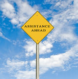 Road sign to assistance Stock Image