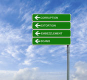 Road sign to corruption Royalty Free Stock Photography