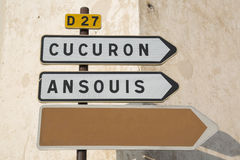 Road Sign to Cucuron and Ansouis from Lourmarin, Provence. France Stock Photography