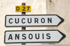 Road Sign to Cucuron and Ansouis from Lourmarin. Provence, France Royalty Free Stock Images