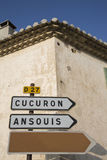 Road Sign to Cucuron and Ansouis from Lourmarin, Provence. France Royalty Free Stock Image