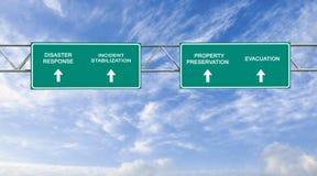 Disaster response. Road sign to disaster response Stock Photos