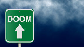 Road Sign to Doom. Conceptual road sign suitable for a variety of themes involving fear, danger, and disaster Stock Image