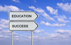 Road sign to eduacation and success Royalty Free Stock Image