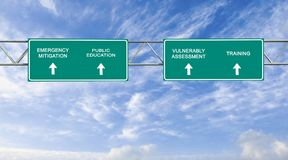 Emergency Management. Road sign to Emergency Management Stock Photo