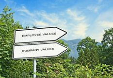 Road sign to employee and company values. Direction road sign to employee and company values Stock Photo