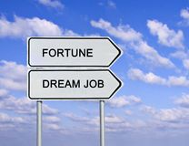 Fortune and dream job. Road sign to fortune and dream job Stock Photos
