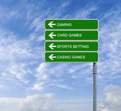 Road sign to gaming Stock Photo