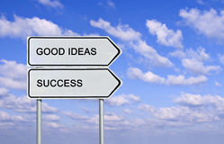 Road sign to good ideas and success Stock Photos