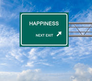 Road sign to happiness. On sky background Royalty Free Stock Photo