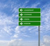 Road sign to leadership stock illustration