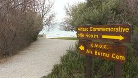 Road sign to monuments and cemeteries of British and Australian army forces. In Gallipoli in Canakkale-Turkey stock video