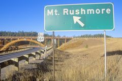 Road Sign to Mount Rushmore Stock Photography