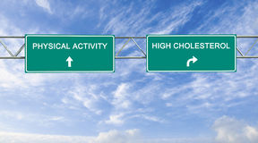 Road sign to physical activity and high cholesterol royalty free stock photos