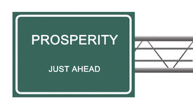 Road sign to prosperity. On white royalty free stock photography